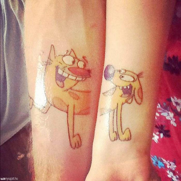 tatuaje cat dog