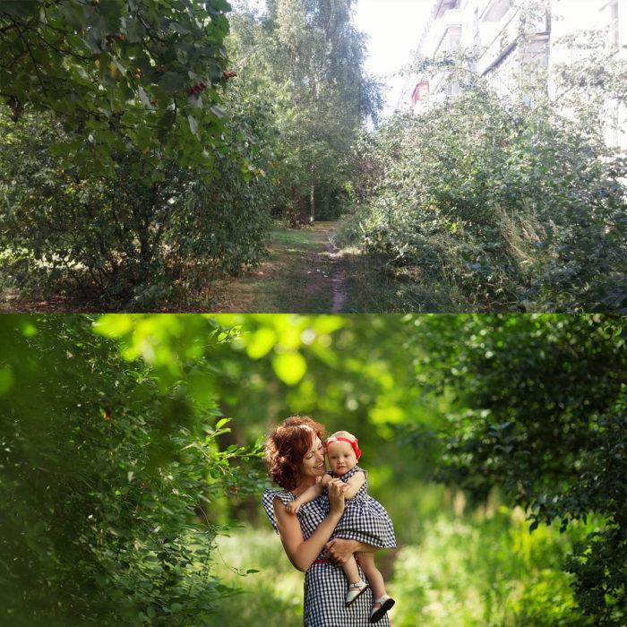 mujer con bebé en un paisaje verde