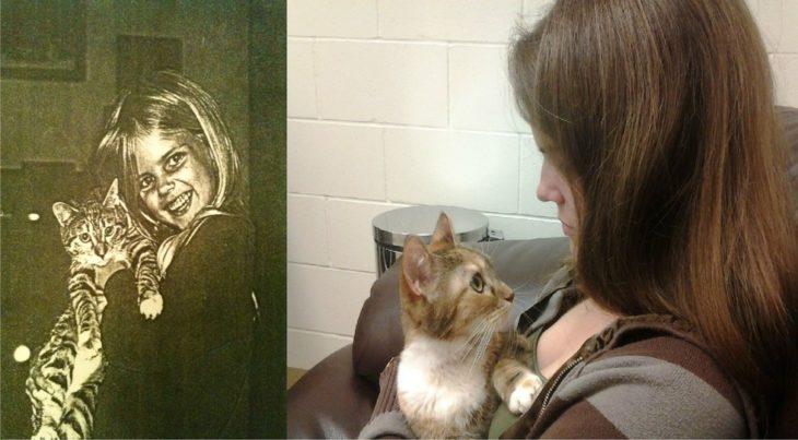 muchacha y su gato antes y después