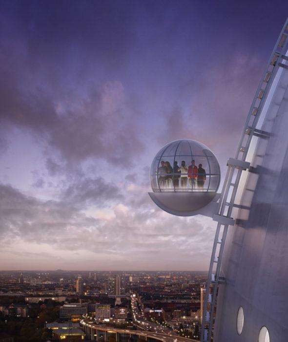 elevador esférico cielo violeta