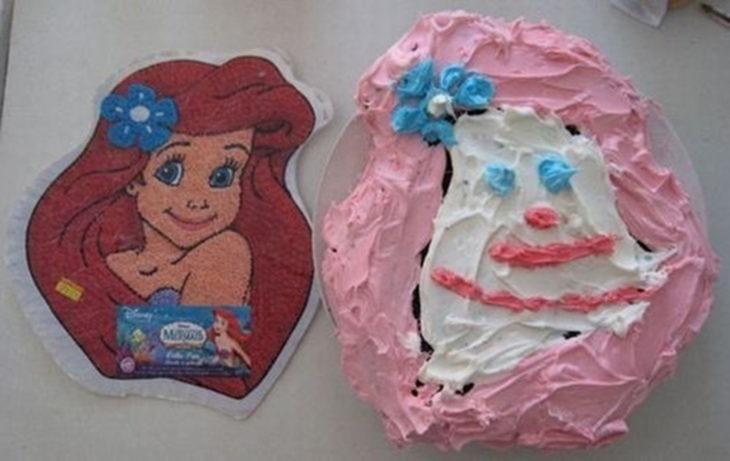 pastel de la sirenita mal hecho