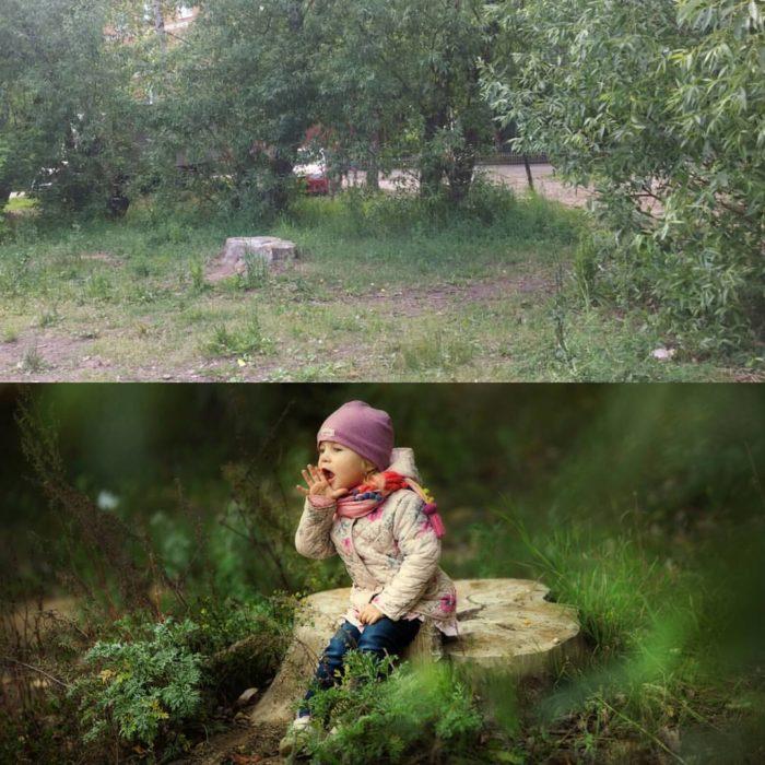 niña sentada en un tronco