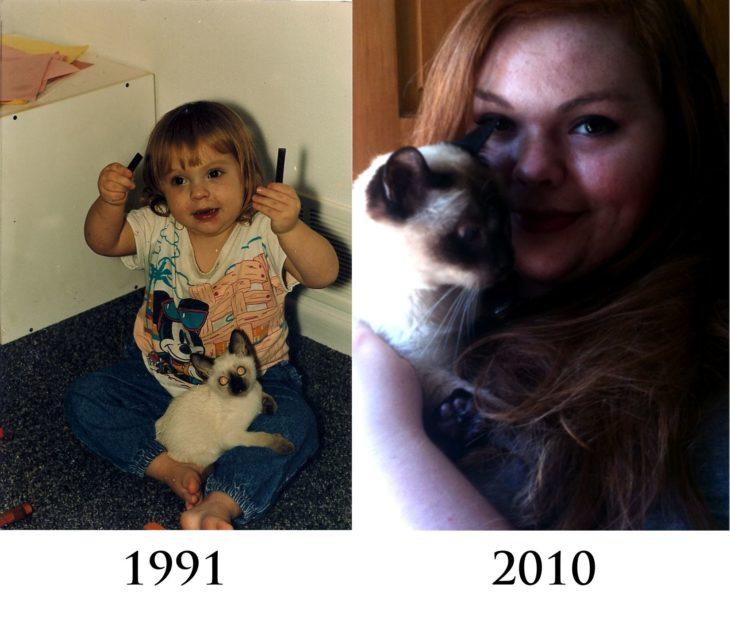 bebe y su gato después mujer y su gato