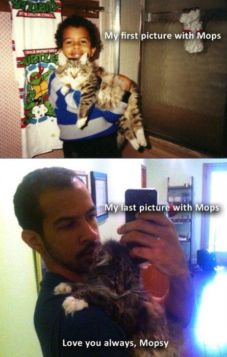 gato y hombre antes y después