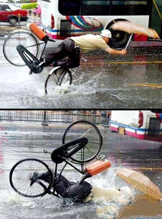 señor se cae de la bicileta