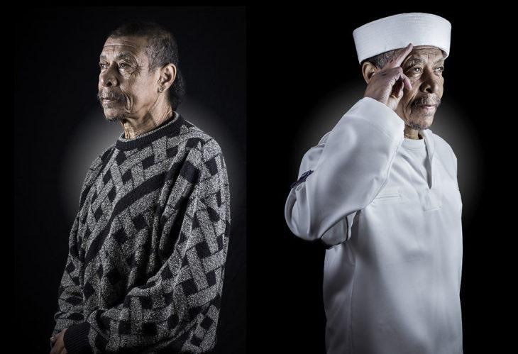 hombre con sueter, de lado mismo hombre vestido de marinero