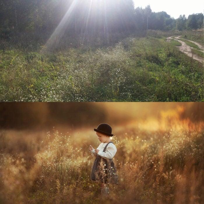 niño en el pasto filtro sepia