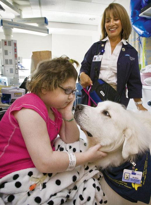 niña en un hospital con un perro
