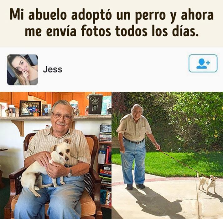 anciano y perro