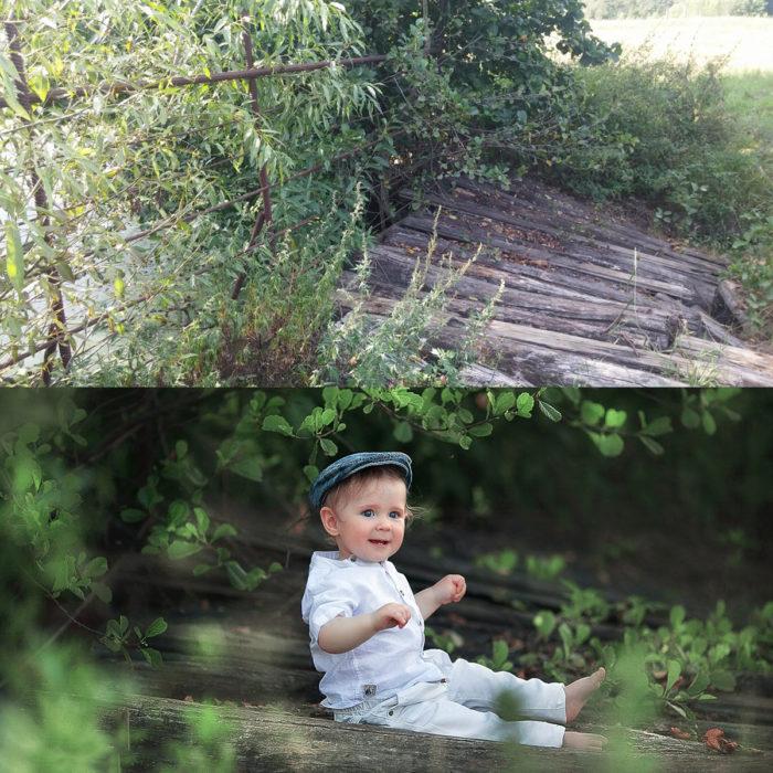 fotografía de bebé sentado en un lugar rodeado de naturaleza
