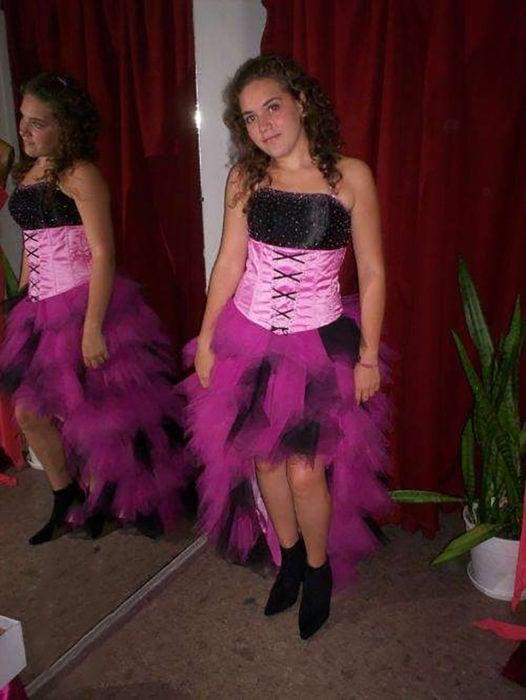 vestido de XV corto rosa y negro