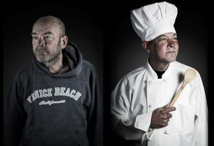 hombre de la calle, de lado mismo hombre vestido como un chef