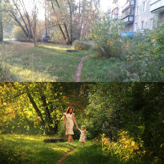 mujer y niña en un paisaje natural