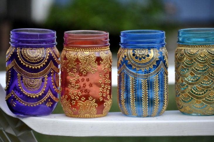 lámparas con frascos