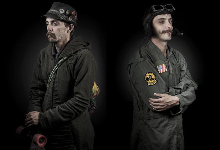 hombre vagabundo, de lado mismo hombre vestido como aviador