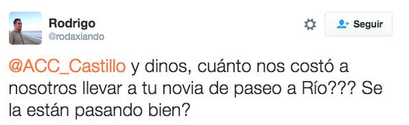 tuit sobre la parición de la novia en Río de Janeiro