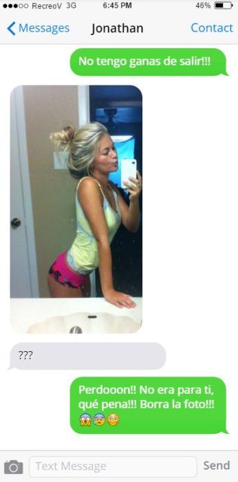 Chica envió un mensaje de texto con imagen equivocado