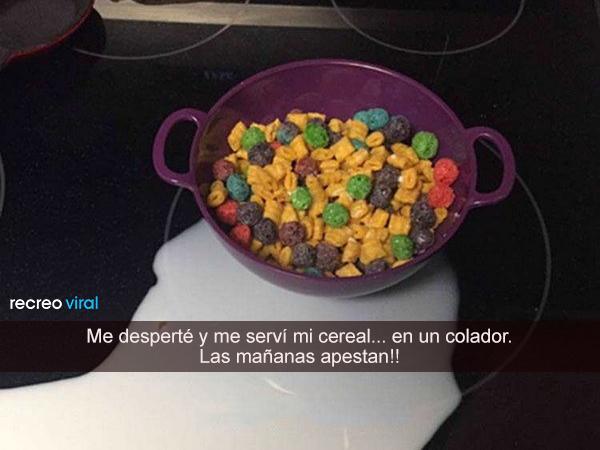 Se sirvió el cereal en un colador