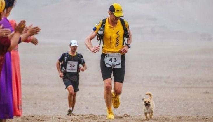 Cachorrita y maratonista corriendo mientras la gente les aplaude