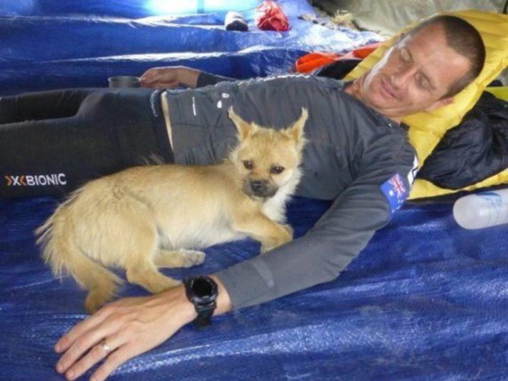 Cachorrita acostada junto a maratonista mientras descansan
