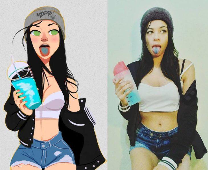 ilustraciones con mujer de lengua azul