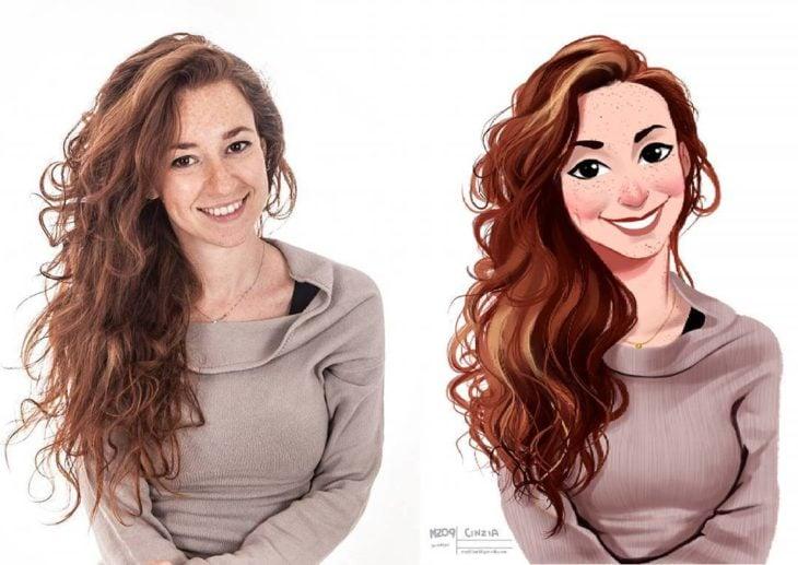 mujer pelirroja de cabello prominente y bello
