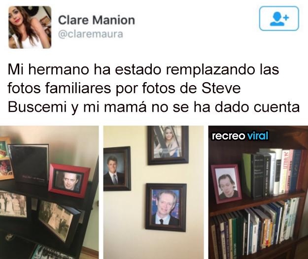 Hermano remplaza fotos familiares por Steve Buscemi