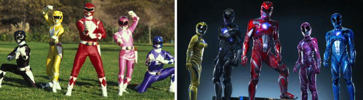Foto de los Power Rangers en los 90's y foto de los Power Rangers en 2016