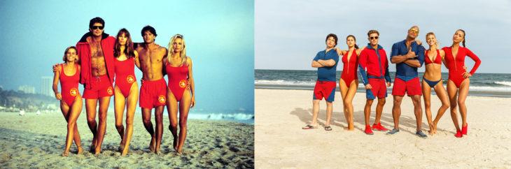 Foto del elenco de Baywatch en los 90's y foto del elenco de la película de Baywatch en 2017