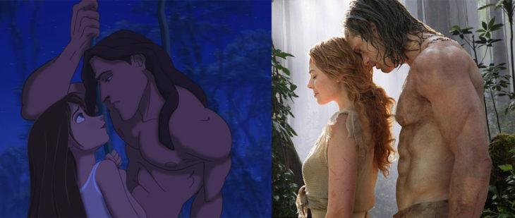 Foto de la caricatura de Tarzán en 1999 y foto de la película de Tarzan en 2016