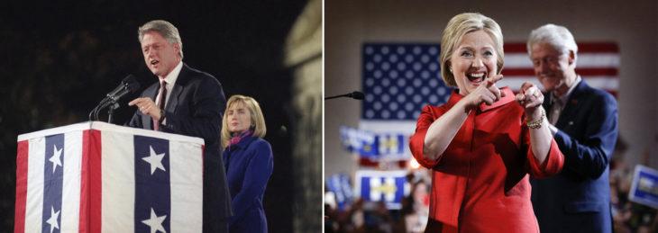 Foto de Bill Clinton rumbo a la presidencia y foto de Hillary Clinton rumbo a la presidencia