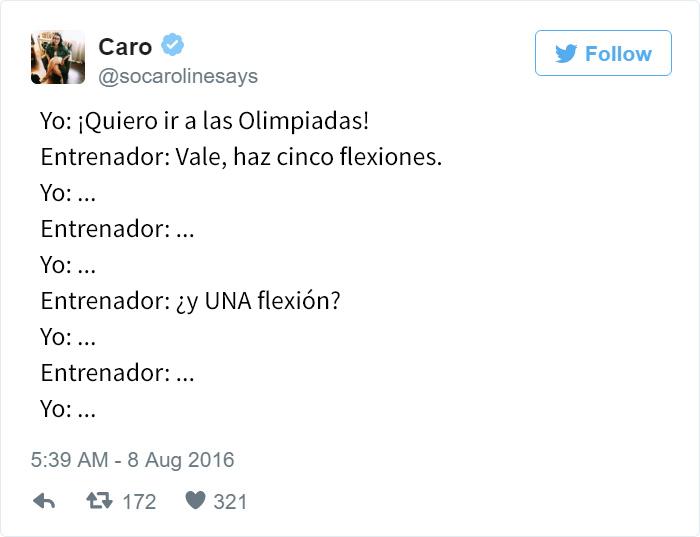 Los mejores tuits de Río 2016. Quiero ir a las olimpiadas, haz 5 flexiones