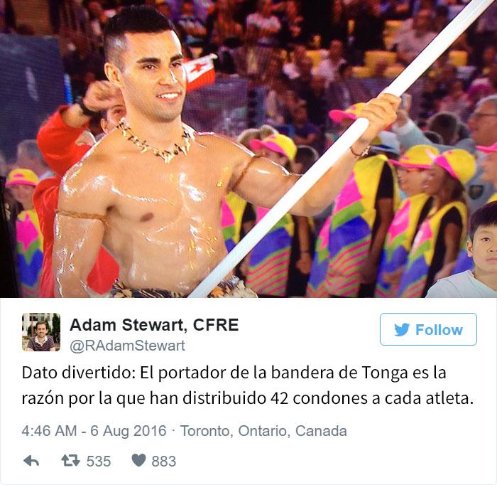 Los mejores tuits de Río 2016. Dato divertido bandera Tonga
