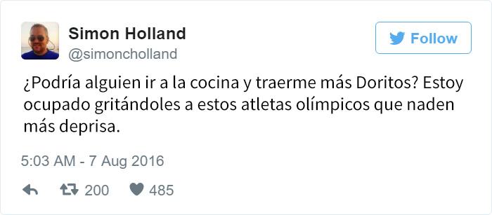 Los mejores tuits de Río 2016. ¿Podría alguien ir a la cocina y traerme más doritos?