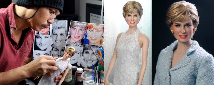 Muñecos realistas. Noel Cruz trabajando en la muñeca de la Princesa Diana