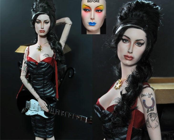 Muñecos realistas. Noel cruz repinta muñecos de artistas. Amy Winehouse