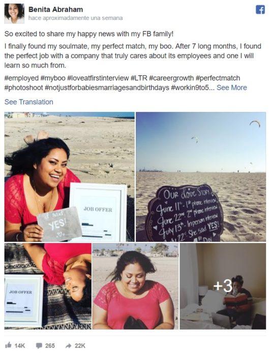 Post en facebook en el que Benita Abraham anuncio su compromiso con su nuevo trabajo