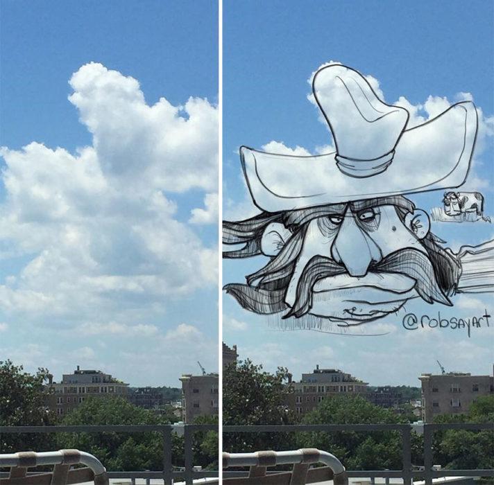 Hombre barbón y bigoton en una nube