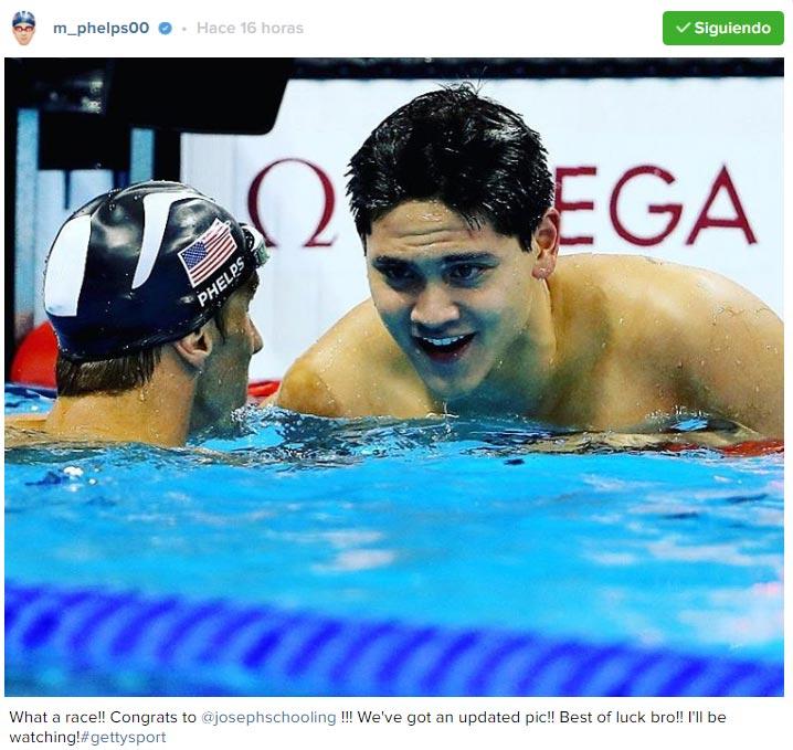 Tuit de Michael Phelps felicitando a Schooling