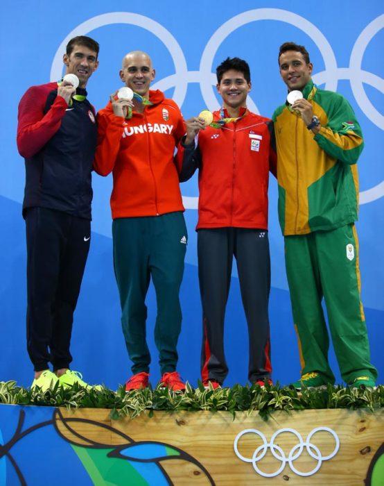 Podio juegos olimpicos rio 2016, schooling oro y phelps plata
