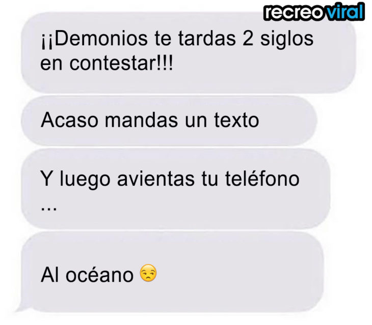 mensaje de texto avientas tu celular al océano