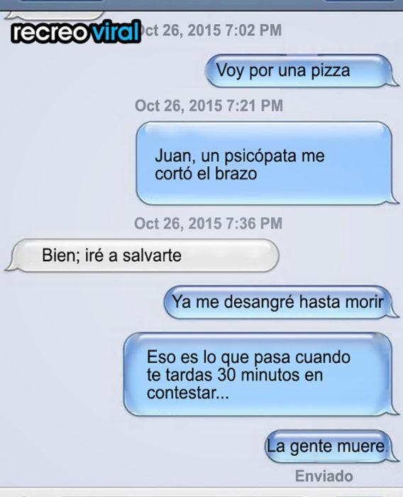 mensjae de texto voy por una pizza