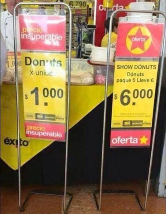 cartel de precios mal hecho