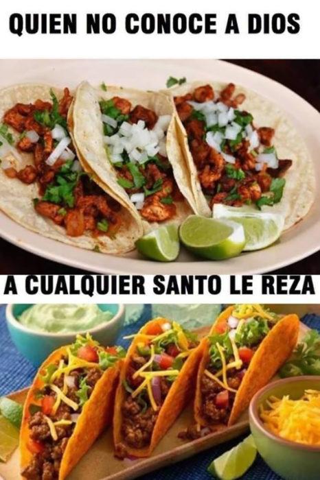 meme el que no conoce a dios tacos vs taco bell