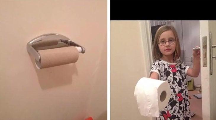 niña con papel de baño