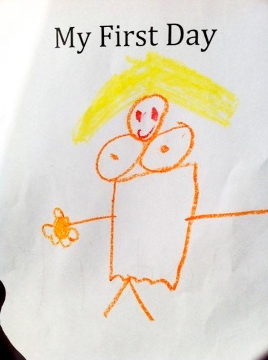 dibujo de mujer hecho por niño