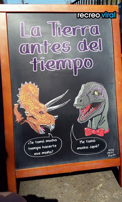letrero conversación entre dinosaurios