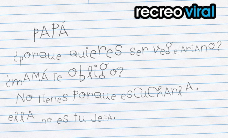 carta a papá vegetariano escrita por niño