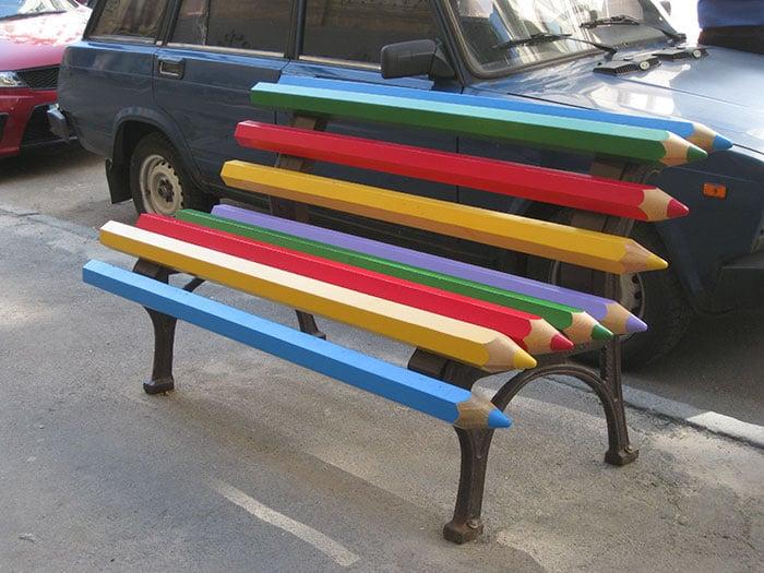 banca de lápices de colores