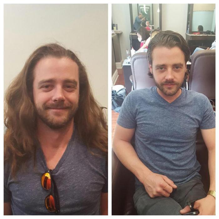 hombre de pelo largo se corta su cabello